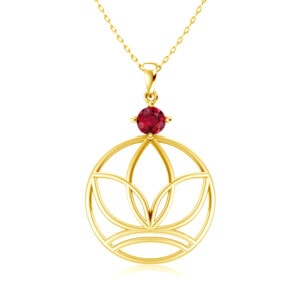 Elements Necklace Gold Earth (Ruby)