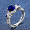 Flower Ring Silver (Sapphire)