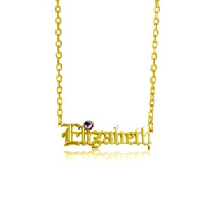 Custom Name Necklace 1 Gold (Amethyst)