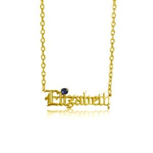 Custom Name Necklace 1 Gold (Sapphire)