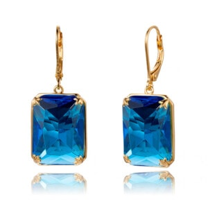 Soleil Earrings Gold (Blue Topaz)